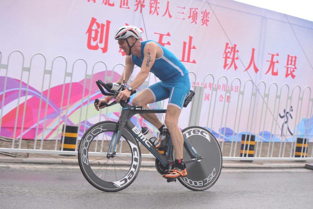 Andreas Bode auf der Radstrecke des IM 70.3 Heifei 2016.